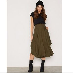 Free people free falling military green Midi skirt